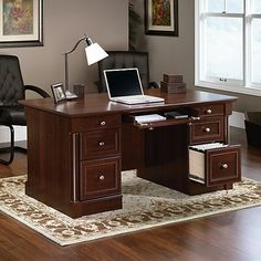 Sauder Palladia Collection Executive Desk 29 35 H x 65 18 W x 29 12 D Select Cherry by Office Depot & OfficeMax