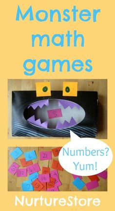 Monster Math Games & Activities with loads of free printables for preschool, kindergarten, and first grade make one for letters and one for numbers children separate magnetic letters/numbers into proper monster! Math Activities For Kids, Fun Math Games, Math For Kids, Maths Fun, Number Games, Learning Games, Math Classroom, Kindergarten Math, The Pirates