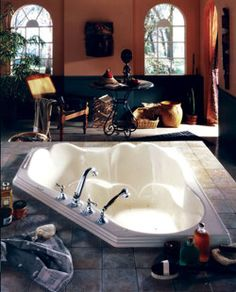 "Neptune Orphee Corner Aciv-Air Tub - 53-3/4"" x 53-3/4"" x 20-1/4""- OR54A #BathroomRemodel #BathtubIdeas #DropInBathtub"