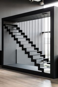 The thin black steel is a modern steel staircase with wear-resistant treads from. : The thin black Steel Stairs Design, Home Stairs Design, Railing Design, Interior Stairs, House Design, Design Design, Metal Stairs, Vector Design, Design Elements