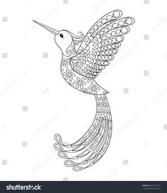 zentangle tribal hummingbird flying bird totem for adult anti stress coloring page tattoos with