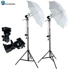LimoStudio 400 Watts Photo Portrait Studio Continuous Umbrella Lighting Light Kits - (2)x 45W CFL Bulbs, (2)x Single Light Bulb Sockets, (2)x Hot Shoe Mount Adapter Umbrella Holder, (2)x Umbrella Reflectors, (2)x Light Stands, AGG101 LimoStudio
