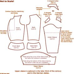 Susan Reed: Cutting diagram for doublet with V-collar and four-part body