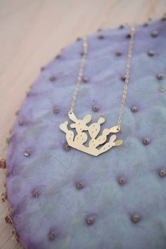 Mini Paddle Cactus Necklace, 14k gold, brass, sterling silver, dainty, tiny, small