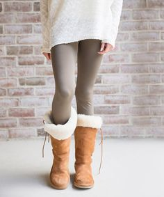 Another great find on #zulily! Olive Fleece-Lined Leggings #zulilyfinds