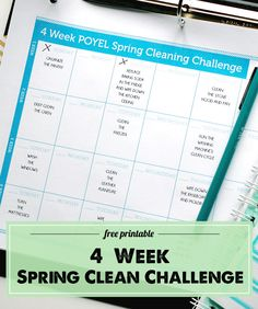 Spring Cleaning Free Printable: an easy to do 4 week challenge that will get all those seasonal cleaning chores checked off your list!