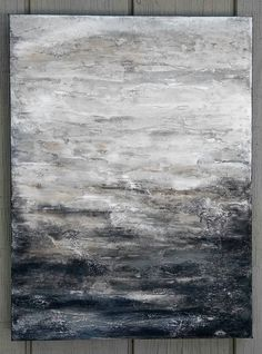 Abstract Gray Painting 18 x 24 Original Textured Canvas Wall
