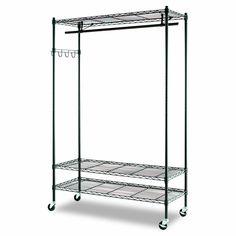 Amazon.com - Alera Wire Shelving Garment Rack (Black) - Standing Shelf Units