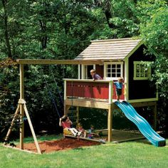 Backyard Playhouse Plan (1127) Keep your kids entertained in your own backyard! Technical Details: Plan features slide, swing, private clubhouse and small deck. Step-by-step instructions Full-color photos and exploded views Detailed tool setup illustrations Materials list Cutting diagram 12 pages