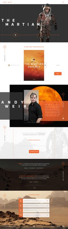 This is a very slick and cool website. I think that the Andy Weir name is difficult to read the way that it is kerned. I would have kerned the text closer together. http://www.expertapplication.com/