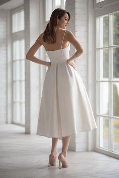 Elegant White Dress, Classy Dress, Elegant Dresses, Pretty Dresses, Beautiful Dresses, Civil Wedding Dresses, Bohemian Wedding Dresses, Princess Wedding Dresses, Wedding Gowns