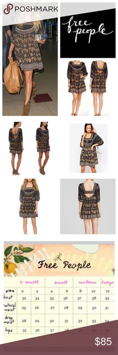 """Free People Midsummer Dream Mini Dress.  NWT. Free People Midsummer Dream Mini Dress, 65% rayon, 35% cotton, washable, 19"""" armpit to armpit (38"""" all around) 11"""" arm inseam, 34.5"""" length, square neckline, three quarter sleeves with ties, eyelet lace trim, back cutout, two side pockets, elastic around bottom of cutout, unlined, measurements are approx.  NO TRADES Free People Dresses Mini"""
