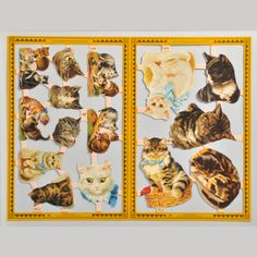 All cats in the right sheet and the two at the bottom left of the left sheet (white and brown tabby) were illustrated by Helena Maguire. Mamelok Papercraft.