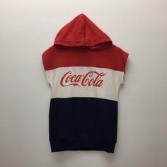 Coca Cola Sleeveless Hoodie Size : M Measurement Armpit : Shoulder to bottom : Mens Sweatshirts, Hoodies, Bulls Shirt, Sleeveless Hoodie, Hooded Sweater, Coca Cola, Color Blocking, Overalls, Windbreaker
