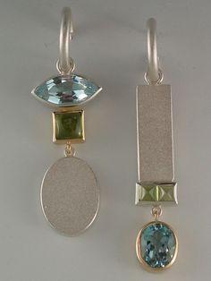 earrings - Sterling silver, 18kt yellow gold, blue topaz  by Janis Kerman Design #ContemporaryGoldJewellery