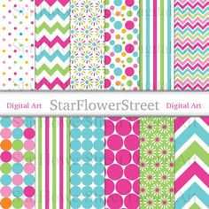 chevron digital paper pink party turquoise girl birthday party wedding shower girl baby shower invitation paper scrapbook background polka dot pattern instant StarFlowerStreetDA on Etsy: (3.75 USD)