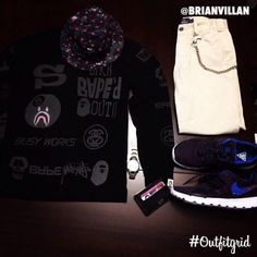Today's top #outfitgrid is by @brianvillan. #Stussy x #Bape #Tee, #Supreme x #CDG #Crusher, #Stussy x #Nike #Trainerendor, and #Chinos #flatlay #flatlayapp #flatlays www.theflatlay.com