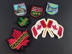 Vintage Canada Patches Souvenir Flag Maple Leaf Set of 6