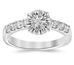 1 Carat Classic Prong Set Diamond Engagement Ring 14K White Gold with a 0.5 Carat J-K I2 Round Brilliant Cut/Shape Center