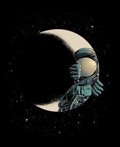 Crescent moon Art Print by Carbine Fantasy Anime, Fantasy Art, Space Illustration, 3d Prints, Moon Art, Art Drawings, Street Art, Artsy, Concept Art