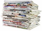 Large Stack Folded Newspapers Ready Recycling Stock Photo (Edit Now) 3817546 Sunday Newspaper, Sunday Paper, Sunday Coupons, Liberia, Last Minute Gifts, English Language, How To Become, Recycling, Finance