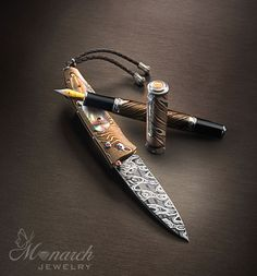 William Henry Studio ensemble.  Created by US artisan high quality luxury knives, writing instruments and gold items ~ collection at Monarch Jewelry in Winter Park, Florida.   #LuxuryGolf # Luxury #USmade.