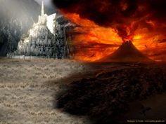 PIN 3: Dit zijn de plaatsen waar het verhaal zich het meest afspeelt. Links zie je Minas-Tirith. Een grote menselijke stad. Minas-Tirith is de grootste stad van Midden-aarde en de koning leeft er. Sauron, de leider van Mordor en de Orks, wilt daarom Minas-Tirith veroveren. Rechts is Mordor, ook wel genoemd; de Zwarte Stad. Mordor is het hart van de duisternis. Hier werden de Orks gemaakt en de leider van Gondor stond er, Sauron. De vulkaan staat ook in Gondor. Daar kan de ring vernietigd…