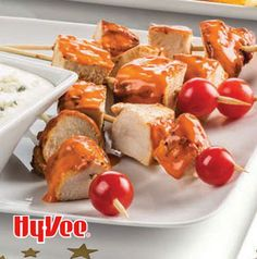 Love the flavor of Buffalo wings, but not a fan of the wing part? Buffalo Chicken Skewers with Bleu Cheese Dip is what you need. They're made with boneless skinless chicken breasts. No worry!