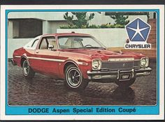 Panini Super Auto 1977 Sticker - No 83 - Vintage Car - Chrysler Dodge Aspen | eBay