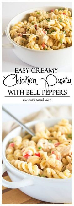 Easy Creamy Chicken Pasta With Bell Peppers