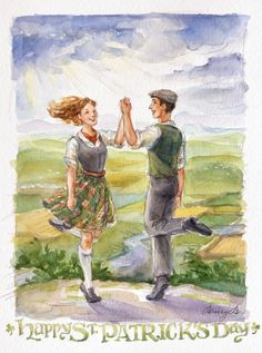 Happy St. Patrick's Day! Watercolor of Irish dancing.