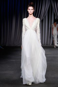 Ripped From the Runway: White Dresses That Would Look Stunning as Wedding Gowns: Christian Dior Couture Spring 2013  : Christian Siriano Spring 2013