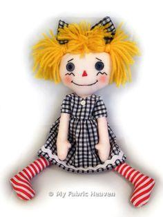 Cute Rag Doll Craft Sewing PATTERN With Easy To Follow Instructions 10 Inch Doll old fashioned folk doll raggedy annie design