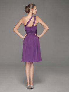 Elegant A-line One Shoulder Knee-length Ruffles Chiffon Dress