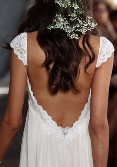 Phaedra Lace Chiffon Wedding Dress Romantique by Claire Pettibone runway back detail