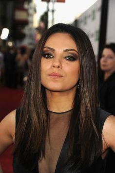 Mila Kunis amazing eyes - black and gold eyeshadow. @Natalie Hindley she looks like you.