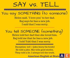 What's the difference. say vs. tell Learn English Grammar, English Fun, English Tips, English Idioms, English Language Learning, English Phrases, Learn English Words, English Writing, English Study