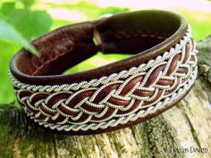 GIMLE Viking Sami Bracelet Cuff - Handmade Swedish Lapland Bracelet in Antique Brown Reindeer Leather with Tin Thread and Leather Braid.