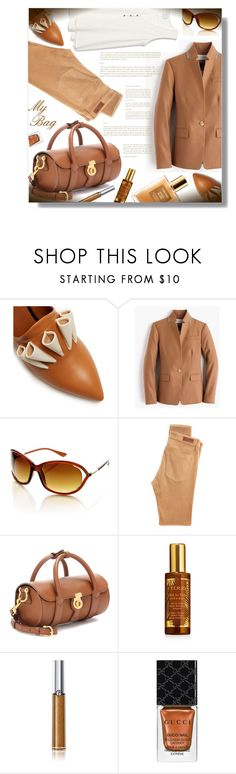 """""""My Bag! - Contest!"""" by sarahguo ❤ liked on Polyvore featuring Malone Souliers, J.Crew, AG Adriano Goldschmied, Burberry, By Terry, Giorgio Armani, Gucci and Tom Ford"""