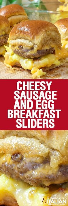 Cheesy Sausage and Egg Breakfast Sliders are a fully loaded perfectly portable hand held breakfast. All of your favorite breakfast fixin's come together with the most amazing and unexpected glaze to create the perfect Brinner (breakfast or dinner). We lov