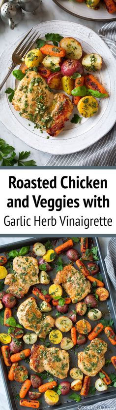 Roasted Chicken and Veggies with Garlic Herb Vinaigrette - this is such an easy tasty recipe to add to the collection! And while it doesn't use chicken breasts, you'll love the rich flavor of the chicken thighs! This is healthy, it's filling and it's pack