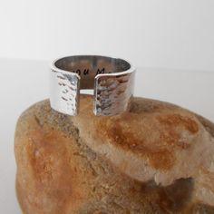 hidden message ring handstamped aluminium cuff ring by jcudesigns