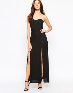 """Maxi dress by Love Smooth woven fabric Curved bandeau neckline Fitted waist Twin thigh splits Side zip closure Slim fit - cut closely to the body Machine wash 100% Polyester Our model wears a UK S/ EU S/ US XS and is 175 cm/5'9"""" tall"""