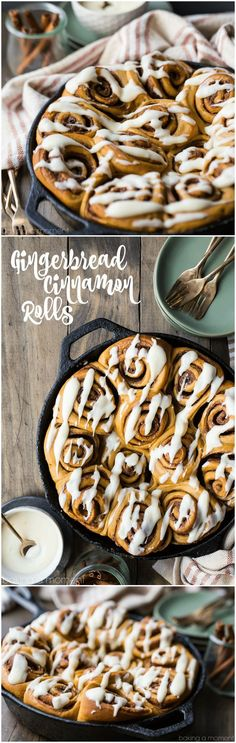 Gingerbread Cinnamon Rolls: so soft and gooey! Loved the added warmth of ginger and molasses, and the lemon-y cream cheese icing was so good! #food #cinnamonrolls #baking #brunch #breakfast #christmas #holiday #cinnabon via @bakingamoment