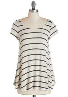 Work from Home Office Tunic - Mid-length, Jersey, Sheer, Knit, Tan / Cream, Black, Stripes, Casual, Short Sleeves, Scoop