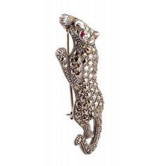 Broche de plata y marquesitas forma pantera www.sanci.es Animals, Shapes, Silver, Animales, Animaux, Animal Memes, Animal, Animais, Dieren