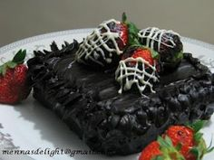 Rich Chocolate Cake with strawberry dipped in chocolate