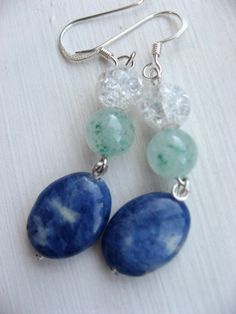 Glass beaded earrings with jade accents