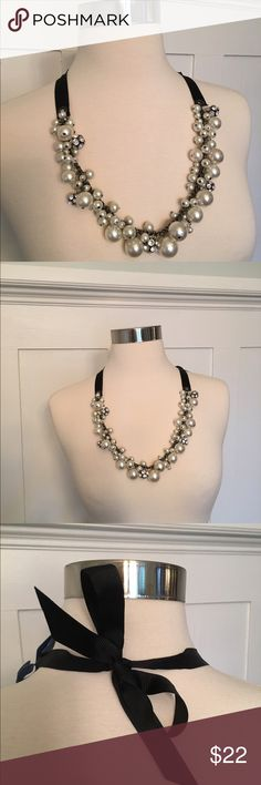NWT Cream/Black Beaded Necklace Simply Vera Wang New With Tags.  Lovely Cream Beaded Necklace by Simply Vera Wang with Adorable Black Ribbon.  Dress up that simple black dress! Simply Vera Vera Wang Jewelry Necklaces