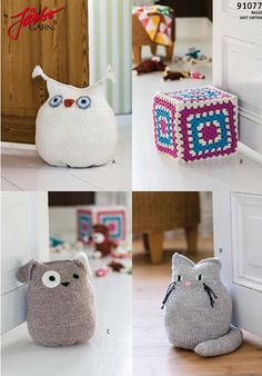 Cuddly toy or doorstop? Your pick! Diy Doorstop, Doorstop Pattern, Diy Sewing Projects, Knitting Projects, Crochet Projects, Crochet Home, Crochet Gifts, Owl Door, Yarn Stash